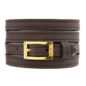 Bracelet 4V - Brown - LALE - LEATHER - BRACELETS