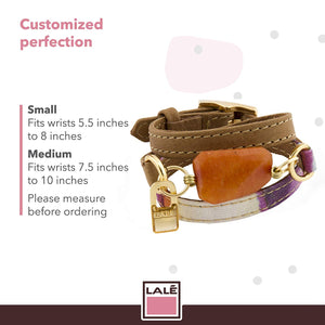 Bracelet Ale - Magenta Stripes - LALE - LEATHER - BRACELETS