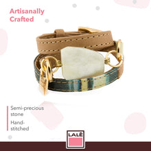 Load image into Gallery viewer, Bracelet Ale - Green Stripes - LALE - LEATHER - BRACELETS