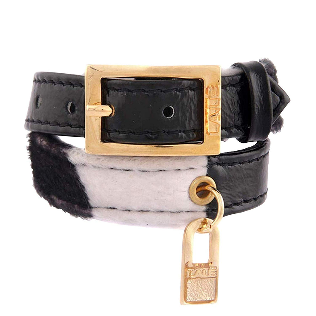 Bracelet 2V - Black Leather with Cow Fabric - LALE - LEATHER - BRACELETS