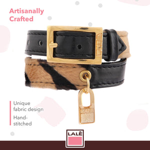 Bracelet 2V - Black Leather with Tiger Fabric - LALE - LEATHER - BRACELETS