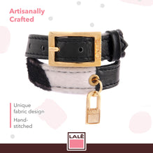 Load image into Gallery viewer, Bracelet 2V - Black Leather with Cow Fabric - LALE - LEATHER - BRACELETS