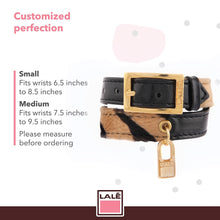 Load image into Gallery viewer, Bracelet 2V - Black Leather with Tiger Fabric - LALE - LEATHER - BRACELETS