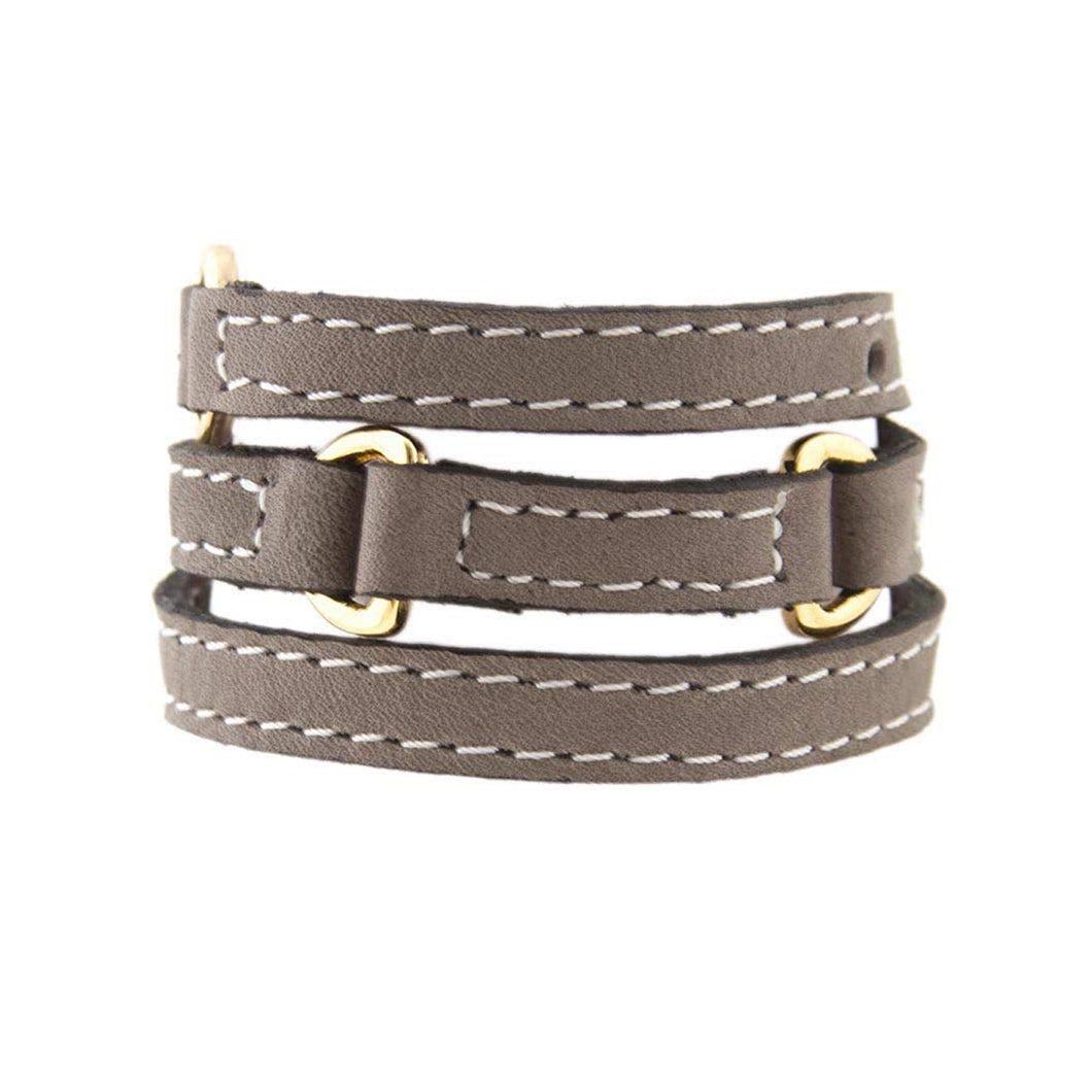 Bracelet Half Moon - Grey - LALE - LEATHER - BRACELETS