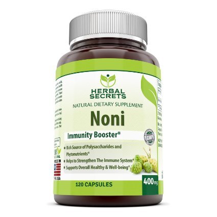 Herbal Secrets Noni - 400 Mg 120 Capsules (Non-GMO) - Helps to Strengthen The Immune System* Supports Overall Health and Well Being