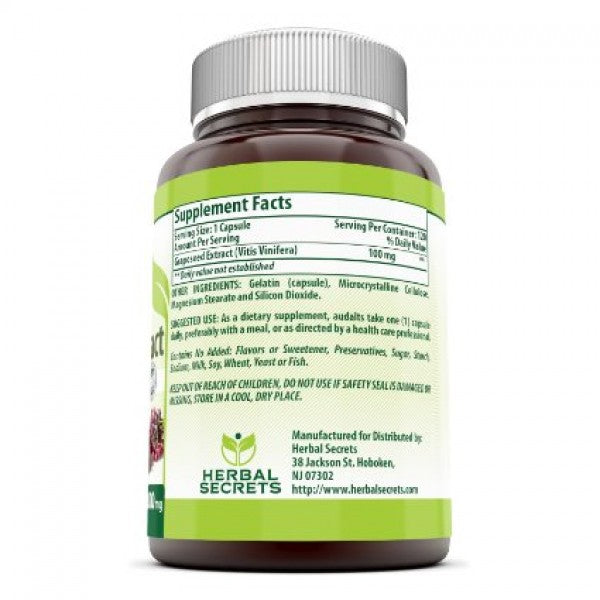 Herbal Secrets Grapeseed Extract - 100 Mg 120 Capsules (Non-GMO) -Supports Cardiovascular & Circulatory Health*- Supports Brain Function & Immune Health* Promotes Cell Health & Healthy Aging
