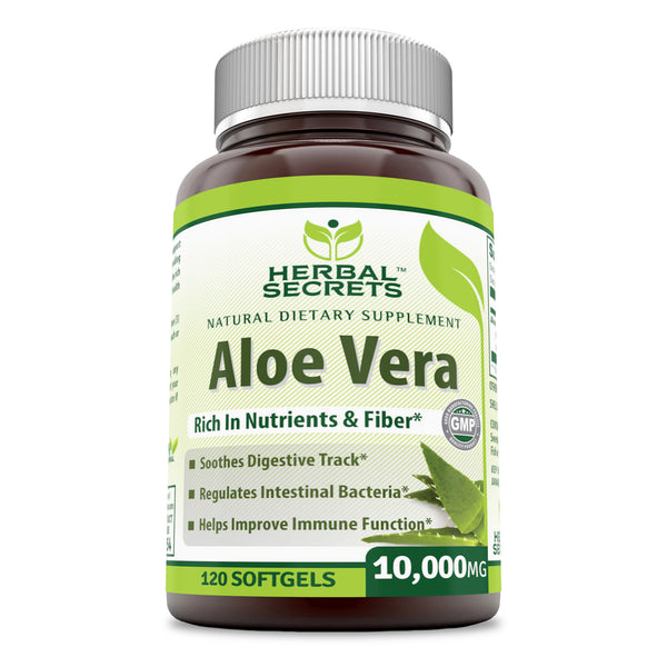 Herbal Secrets Aloe Vera 10000 Mg 120 Softgels - herbalsecrets