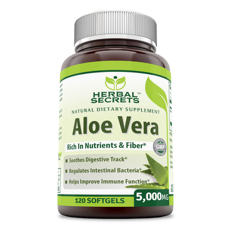 Herbal Secrets Aloe Vera 5000 Mg 120 Softgels - herbalsecrets