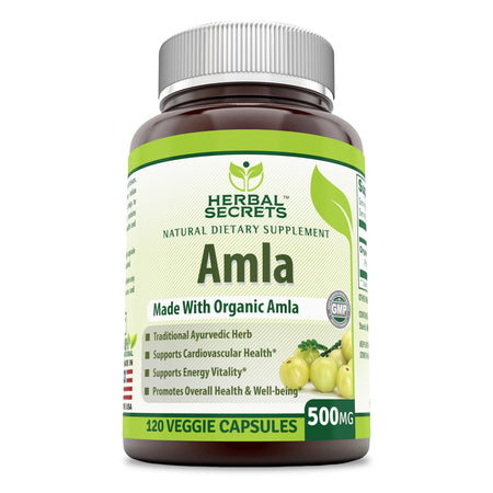 Herbal Secrets Organic Amla 500 Mg 120 Veggie Capsules (Non-GMO) - Supports Cardiovascular Health, Energy Vitality* Promotes Overall Health and Well Being