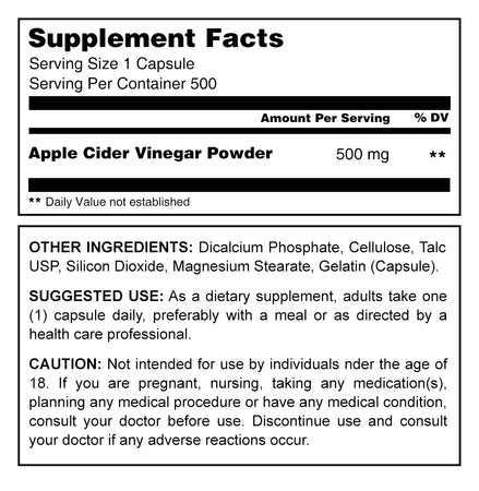 Herbal Secrets Apple Cider Vinegar 500 mg 500 Capsules (Non-GMO) *Supports Healthy Weight Management *Supports Digestive Functions *Supports Overall Health & Well-Being (500)
