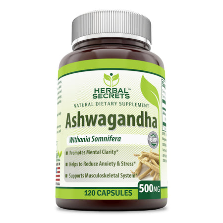 Herbal Secrets Ashwagandha Extract 500 Mg 120 Capsules (Non-GMO) -Reduces Stress & Anxiety -Improve Thyroid Function -Natural Energy Boost