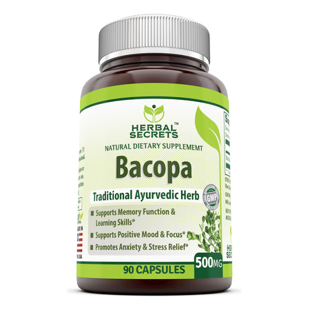 Herbal Secrets Bacopa Powder 500 Mg 90 Capsules (Non-GMO) - Support Memory Function & Learning Skill, Positive Mood & Focus. Promotes Anxiety & Stress Relief
