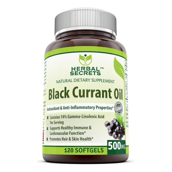 Herbal Secrets Black Currant Oil 500 Mg 120 Softgels - herbalsecrets