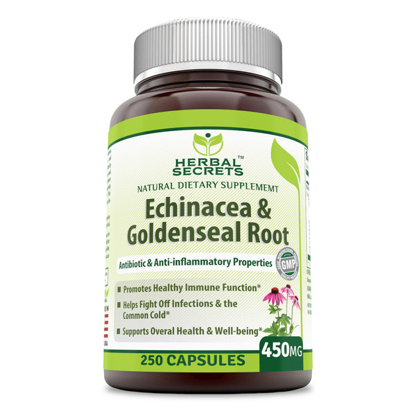 Herbal Secrets Echinacea & Goldenseal 450 Mg 250 Capsules - herbalsecrets