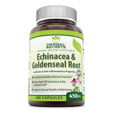 Herbal Secrets Echinacea & Goldenseal Root 450 Mg 500 Capsules - herbalsecrets