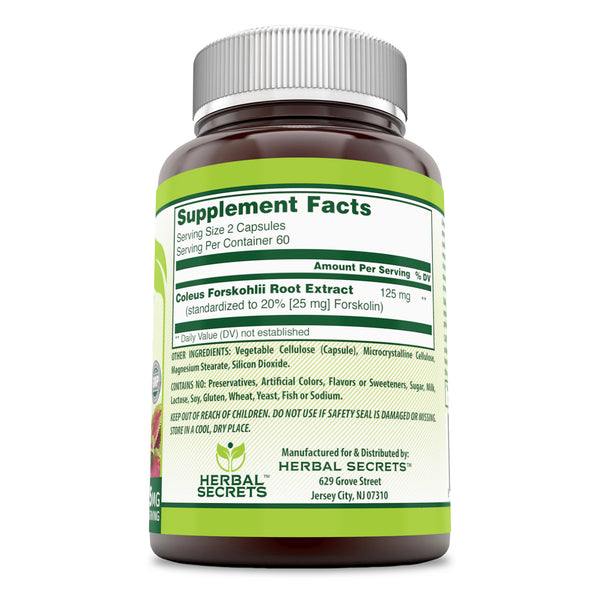 Herbal Secrets Forskolin 125 Mg 120 Capsules - herbalsecrets