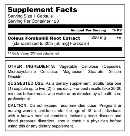 Herbal Secrets Forskolin 250 Mg 120 Capsules - herbalsecrets