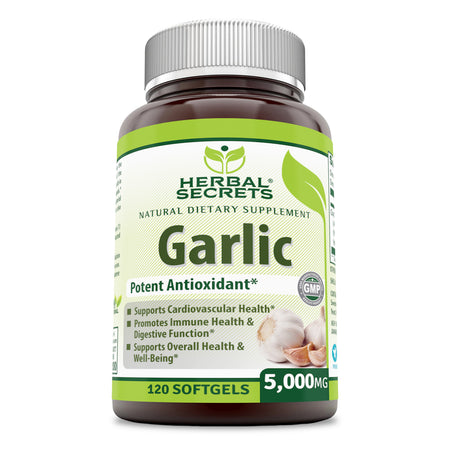 Herbal Secrets Garlic 5000 Mg 120 Softgels - herbalsecrets
