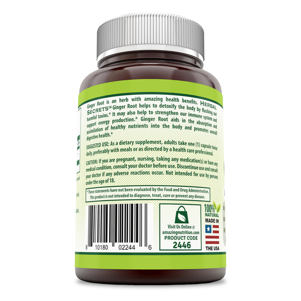 Herbal Secrets Ginger Root 550 Mg 120 Capsules - herbalsecrets