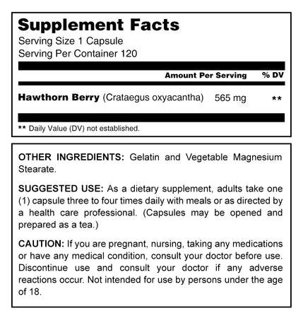 Herbal Secrets Hawthorn Berries 565 Mg 120 Capsules - herbalsecrets