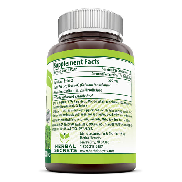 Herbal Secrets Holy Basil 500 Mg 120 Veggie Capsules - herbalsecrets