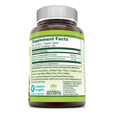 Herbal Secrets KSM 66 Organic Ashwagandha 500 Mg 120 Tablets - herbalsecrets