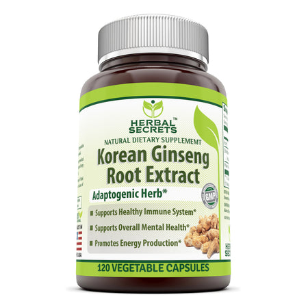 Herbal Secrets Korean Ginseng Root Extract 120 Vegetable Capsules - herbalsecrets