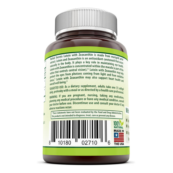 Herbal Secrets Lutein 20 Mg 240 Softgels - herbalsecrets