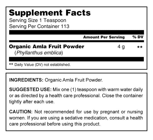 Herbal Secrets USDA Certified Organic Amla Powder 16 oz (Non-GMO) Gluten-Free -Supports Cardiovascular Health* Supports Energy Vitality* Promotes Overall Health & Well-Being