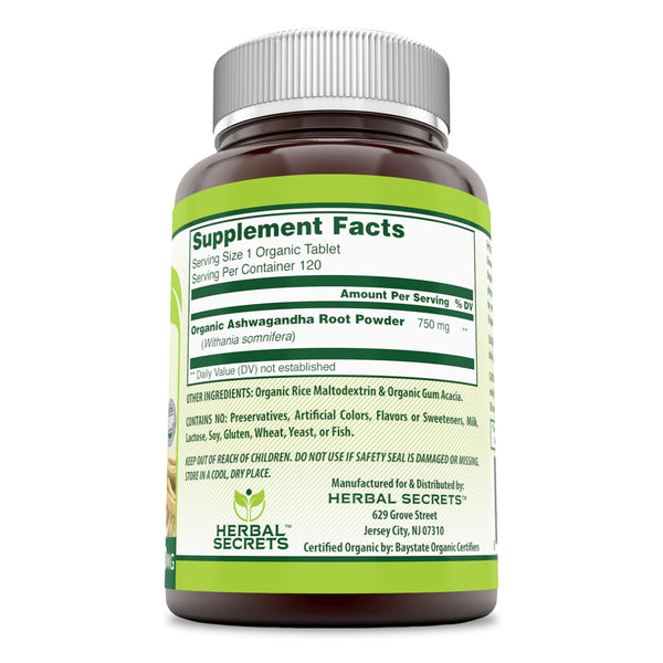 Herbal Secrets Organic Ashwagandha 750 Mg 120 Tablets - herbalsecrets
