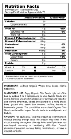 Herbal Secrets Organic Chia Seeds Nutrient 2 Lbs (907 Gram) - herbalsecrets