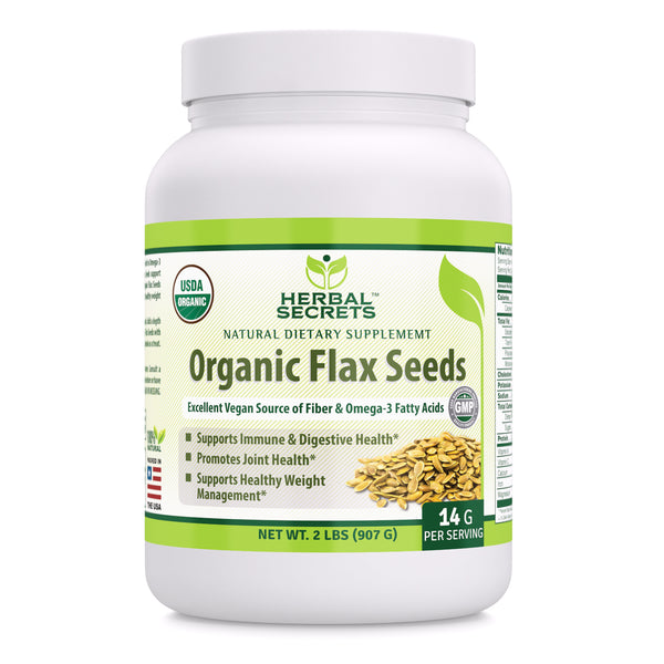 Herbal Secrets Organic Flax Seeds 2 Lbs - herbalsecrets