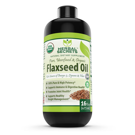 Herbal Secrets Organic Flaxseed Oil 16 Fl Oz - herbalsecrets