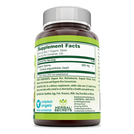 Herbal Secrets Organic Senna 500 Mg 120 Tablets - herbalsecrets