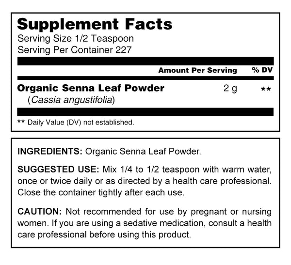 Herbal Secrets Organic Senna Powder 16 Oz 227 Servings - herbalsecrets