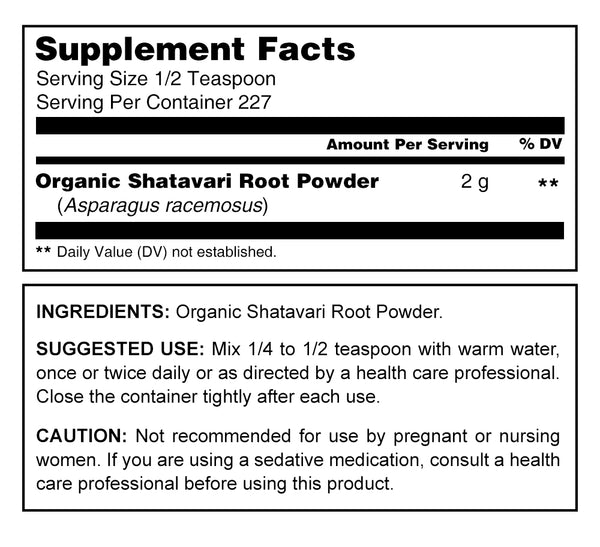 Herbal Secrets Organic Shatavari Powder 16 Oz - herbalsecrets
