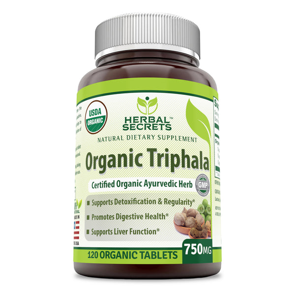 Herbal Secrets Organic Triphala 750 Mg 120 Tablets - herbalsecrets