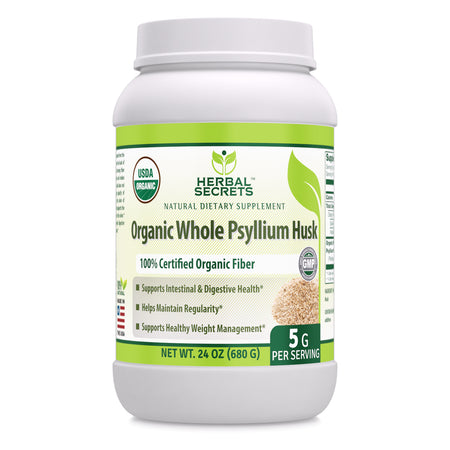 Herbal Secrets Organic Whole Psyllium Husk 24 Oz (680 Gram) - herbalsecrets