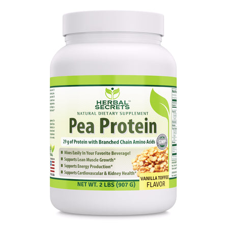 Herbal Secrets Pea Protein Vanilla Toffee Flavor 2 Lbs