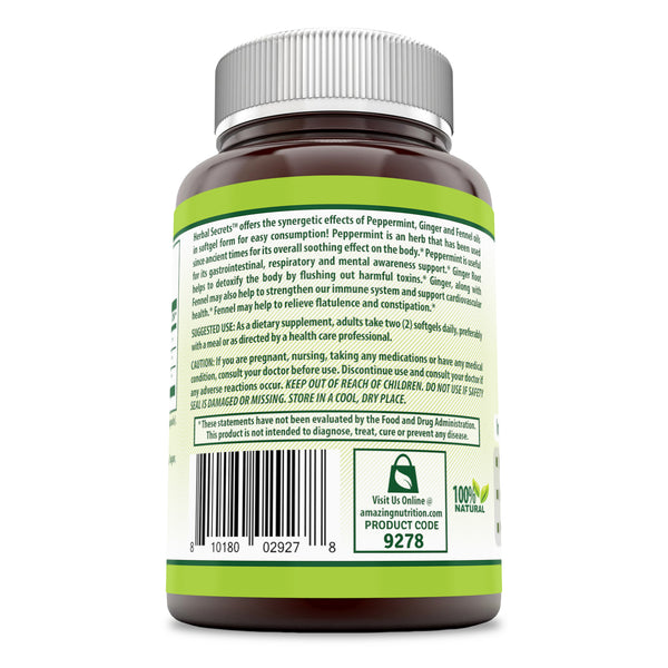 Herbal Secrets Peppermint Ginger & Fennel 120 Softgels - herbalsecrets