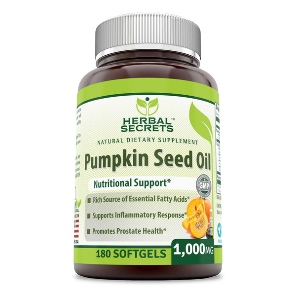 Herbal Secrets Pumpkin Seed Oil 1000 Mg 180 Softgels - herbalsecrets