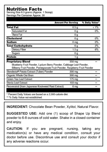 Herbal Secrets Raw Superfoods Shape Up Blend Chocolate Flavor 8.78 Oz