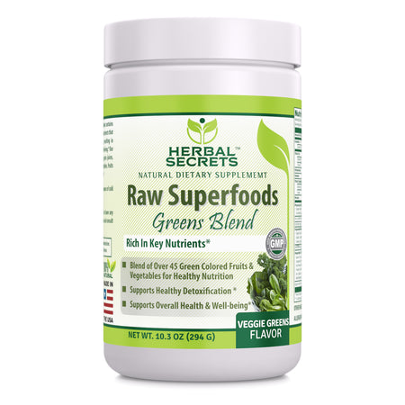Herbal Secrets Raw Superfoods Greens Blend Veggie Greens Flavor 10.3 Oz - herbalsecrets