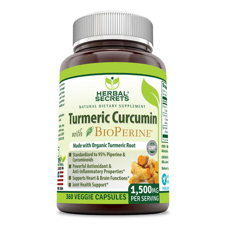 Herbal Secrets Turmeric Curcumin with Bioperine 1500 Mg 360 Veggie Capsules - herbalsecrets