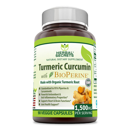 Herbal Secrets Turmeric Curcumin with Bioperine 1500 Mg 90 Veggie Capsules - herbalsecrets