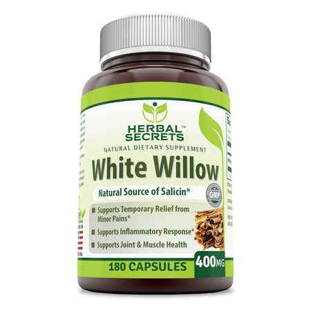Herbal Secrets White Willow Bark 400 Mg 180 Capsules - herbalsecrets