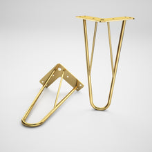 Load image into Gallery viewer, Set of 4 Brass Hairpin Sofa Legs - ivadecorstudio