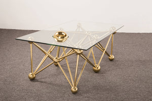 Gold Round Glass Coffee Table - ivadecorstudio