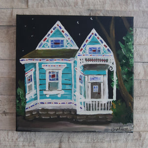"""Teal and Red Stained Glass Home"""