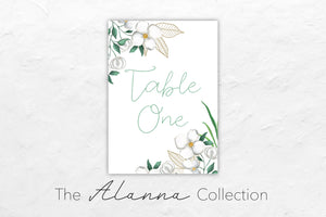 The Alanna Collection has a beautiful floral theme with white flowers and greenery to match.